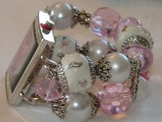 Pink White and Crystal chunky beaded watch band and by BeadsnTime, $30.00