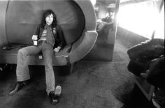 "Jimmy Page of Led Zeppelin on board the band's private jet, ""The Starship"" #JimmyPage #LedZeppelin #LedZep #Zep #TheStarship"