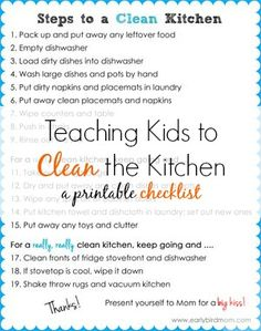 Would you like more help from your kids in the kitchen? Use it as a chore training tool or hang it up and let them do the job independently. Our room cleaning checklist for kids was such a big hit (over 74000 pins!) that I decided to follow-up with a kitchen cleaning checklist. My kids are such a bi…