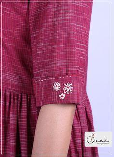 Kannurhandloom - Her Crochet Khadi Kurti, Indian Gowns Dresses, Designer Dresses, Designer Kurtis, Rose Embroidery, Silk Shorts, Sleeve Designs, New Trends, Fashion Photography