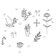 Just another recent flash sheet. I find it easier to find inspiration when sticking to a theme (flowers and plants here). Feel free to share some theme ideas! Cute Tiny Tattoos, Dainty Tattoos, Pretty Tattoos, Mini Tattoos, Small Tattoos, Boho Tattoos, Script Tattoos, Line Art Tattoos, Wiccan Tattoos