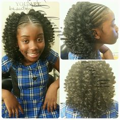 "American and African Hair Braiding : ""Cornrows in the front and crochet in the back. I added a little length this t - All For Hairstyles Kids Crochet Hairstyles, Lil Girl Hairstyles, Natural Hairstyles For Kids, Crochet Hair Styles, Pretty Hairstyles, Hairstyle Ideas, Kids Hairstyle, Crochet Style, Hair Ideas"