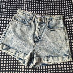 Acid washed shorts High waisted cuffed shorts in acid wash American Apparel Jeans