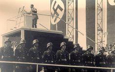 Adolf Hitler in Frankfurt, October, 1933. More amazing Nazi staging and imagery. (via putschgirl)