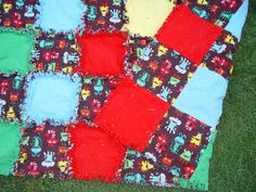 Throw Size Rag Quilt with Friendly Monsters  Reasy tp by AuntBugs, $107.75