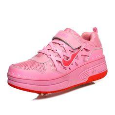 e5f3ce992576 Бесплатная доставка детей ролика Heelys кроссовки высокое качество  двухместный пу колесо автоматической мальчик девочки роликовые коньки