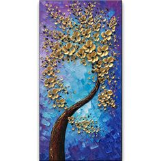 baccow Blossom Trees Handmade Abstract Wall Art Landscape Oil Paintings Canvas with Frames for Bedroom Kitchen Living Room Office