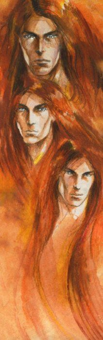 Maedhros, Amrod and Amras by chmiel  eldest and youngest sons of Feanor