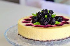 Biting Hanah: Vanilla blackberry swirled cheesecake*