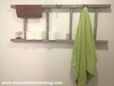 DIY Upcycled Ladder, Bathroom Organization - DIY Ladder Decorations