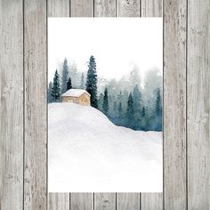Snowy Cabin in the Forest Mini Watercolor Calendar for Journal or Planner - Pins-art, painting, malen, Kunst - Pictures on Wall ideas Watercolor Christmas Cards, Watercolor Cards, Watercolor Print, Watercolor Illustration, Watercolour Painting, Painting & Drawing, Watercolors, Watercolor Ideas, Watercolor Projects