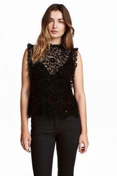 Frilled lace blouse - Black - Ladies   H&M CA