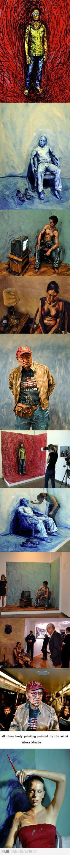 Incredible Art by Alexa Meade who uses her subjects as the actual canvas, check out her website @ alexameade.com