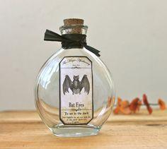 Bat Eyes Apothecary Bottle Halloween Potion Black Vampire