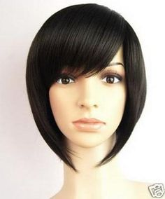 DIY-WIG Cosplay Natural Black Short Straight Oblique Bangs Women Hair Full Wig $15.36 AU