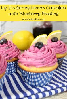 Lip Puckering Lemon Cupcakes with Blueberry Frosting; these lemon cupcakes are deliciously moist, light, and flavorful; lip puckering good!  http://www.annsentitledlife.com/recipes/lip-puckering-lemon-cupcakes-with-blueberry-frosting/