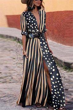 8bb5bc86ce4 Chicnico Dot Striped Patchwork Maxi Dress Dot Dress