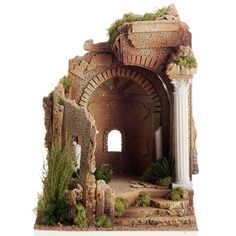 Templo romano antigo arco com estilo, para berço Nativity Stable, Beautiful Ruins, Fairy Houses, Doll Houses, Christian Images, Medieval Houses, Wargaming Terrain, All Things Christmas, Christmas Ideas