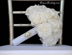 Ivory BRIDAL Bouquet with WHITE LACE Ribbon Handle And BROOCH. Bouquet measures approximately: 10 wide and 12 in height (pictured) OR 12 wide and 13 in height   This dreamy Quirky Home Decor, Hippie Home Decor, Handmade Home Decor, Flower Ball Centerpiece, Red Centerpieces, Crown Centerpiece, Cheap Wall Decor, Cheap Home Decor, Ivory Wedding
