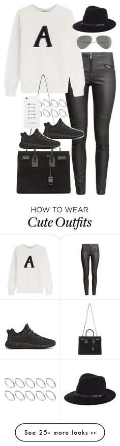 """""""Inspired outfit with a graphic jumper"""" by pagesbyhayley on Polyvore featuring H&M, AG Adriano Goldschmied, Yves Saint Laurent, ASOS, Ray-Ban and rag & bone"""
