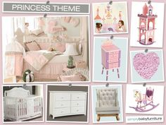 Here is our completed Princesses Theme nursery design board.  Follow the board to see the individual items and read all about it from our baby nursery designer.