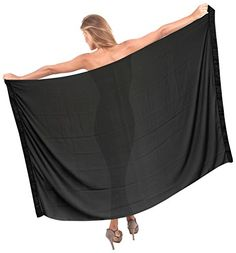 """La Leela Sheer Chiffon Sequin Embroidered Beach Swim Hawaiian Sarong Black. Do YOU want SARONG in other colors Like Red ; Pink ; Orange ; Violet ; Purple ; Yellow ; Green ; Turquoise ; Blue ; Teal ; Black ; Grey ; White ; Maroon ; Brown ; Mustard ; Navy ,Please click on BRAND NAME LA LEELA above TITLE OR Search for �LA LEELA� in Search Bar of Amazon. LENGTH 72"""" [183 cms] WIDTH 42"""" [107 cms]. Soft Sarong with PLENTY OF Wrap Around MATERIAL (Provides you good coverage or less as you like)…"""