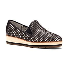 Women's Ed Ellen Degeneres 'Osbourn' Perforated Slip-On (£98) ❤ liked on Polyvore featuring shoes, flats, black leather, black flats, leather shoes, black slip on flats, breathable shoes and black leather flats
