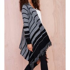 Nasty Gal Cover Me Sweater Striped fringe cardigan. Draped high/low design with pockets, an open front, fringe detailing, and a striped design. Thick knit acrylic. Shows slight wear, no damage.  True to size.   Tags: free people Brandy Melville wildfox Anthropologie Asos Zara H&M cotton on motel evil twin unif daftbird dollskill urban outfitters Nasty Gal Sweaters