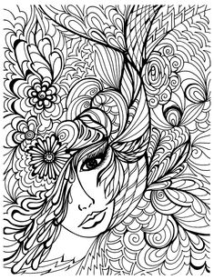 free coloring page coloriage visage et vegetations - Free Art Coloring Pages