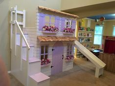 Layla's Dollhouse Loft Bed, Play Area Underneath. Options Include Bunk Bed Version, Storage Trundle, Slide & Stairs w/ Built-in Storage. Benjamin Moore, Trundle Bed With Storage, Built In Storage, Bunk Beds With Stairs, Kids Bunk Beds, Stair Slide, Staircase Landing, Cute Bedding, Dreams Beds