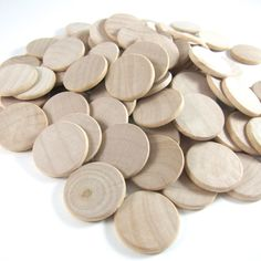 """Whether you are looking to create some wooden coins for your child's lemonade stand, some unique pendants or do some wood stamping, our premium 1"""" wood discs are perfect for your needs. { d e t a i l"""