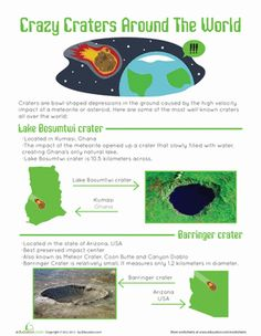 Fifth Grade Earth & Space Science Worksheets: Craters on Earth Worksheet