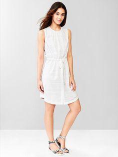 Burnout stripe tie-waist dress Product Image