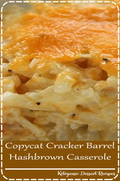 Homemade CopyCat Cracker Barrel Hashbrown Casserole ~ So cheesy and so easy to m. - - Homemade CopyCat Cracker Barrel Hashbrown Casserole ~ So cheesy and so easy to make. Great for breakfast or even a dinner side - Plus they are perfe. Easy Casserole Recipes, Crockpot Recipes, Cooking Recipes, Casserole Dishes, Sausage Recipes, Chicken Casserole, Healthy Recipes, Cooking Games, Thai Cooking