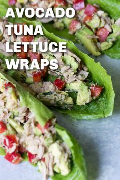 Avocado Tuna Lettuce Wraps Six Sisters Stuff Packed with protein and healthy fats these Avocado Tuna Lettuce Wraps make a great option for lunch or a midday snack Healthy Fats, Healthy Snacks, Healthy Eating, Healthy Recipes, Eating Raw, Vegetarian Protein, Healthy Dishes, Nom Nom Paleo, Avocado Recipes