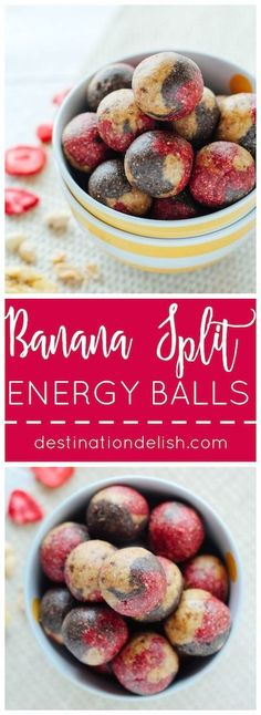 Banana Split Energy Balls   Destination Delish – an all-natural snack combining strawberry, banana, and chocolate flavors with cashews, dates, and almond milk
