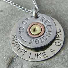 I'm so making one of these except with 12 ga brass.since that's what real girls shoot! :) Shoot Like a Girl Bullet Shell Handstamped Necklace Shotgun Shell Crafts, Shotgun Shell Jewelry, Shotgun Shells, Ammo Jewelry, Jewelry Crafts, Jewelery, Penny Jewelry, Jewelry Ideas, Hand Stamped Necklace