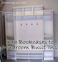 2 Ikea bookcases, 1 ikea wall shelf, 1 Ikea tv stand and some bead board. Voila! Instant mudroom!