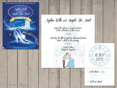 Set Huwelijksuitnodiging Assepoester Save door SophiesLoveBirds
