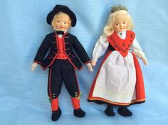 Vtg Ronnaug Petterssen Norwegian Felt Cloth Dolls Bride & Groom Hardangar Couple #RonnaugPetterssen #Dolls