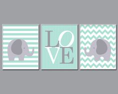 Elephant Nursery Art Print, Mint and Gray Love, Mint Nursery Art, 4 Sizes Available, Set of 3 prints, Colors Customizable, H131
