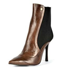 Just Cavalli Leather Pointed Toe Booties - Booties - Shoes at Viomart.com