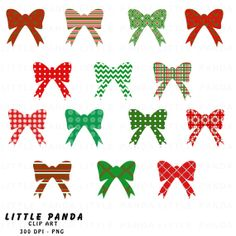50 off SALE  Christmas Bows Digital Clip by LittlePandaDigitals, $1.50