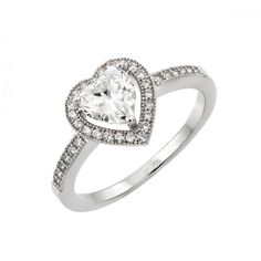 Heart Shape CZ Ladies Sterling Silver Ring .925, Rhodium Plated with cubic zirconia.