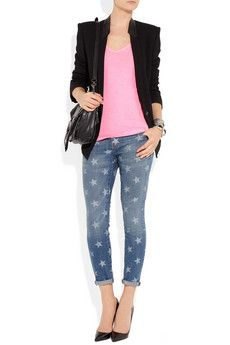 CURRENT/ELLIOTT  The Stiletto star-print low-rise skinny jeans