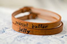 Peanut Butter and Jelly  Best Friends bracelets by Cjohannesen, $38.00 @Serin Mahoney Mahoney Anderson you're the jelly ;)