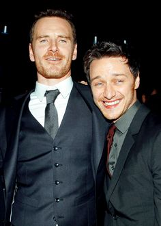 """Michael is So gorgeous & James is cute here! :) Michael Fassbender and James McAvoy at """"X-Men: Days Of Future Past"""" World Premiere"""