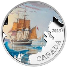 Fine Silver Coloured Coin - Lost Ships in Canadian Waters: Franklin's Lost Expedition - Mintage: Franklin Expedition, Canadian Coins, Canadian History, Cool Color Palette, Mint Coins, Gold And Silver Coins, Coins For Sale, Silver Bullion, Commemorative Coins