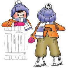 Little girl in snowsuit, mittens, hat and ice skates - Set of 2Goes with our Snowy Fence P1808