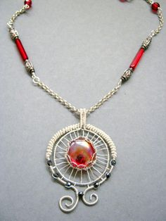 images of wire wrapped jewelry | Wire wrapped jewelry, handmade wire wrapped necklace, Red glass ...